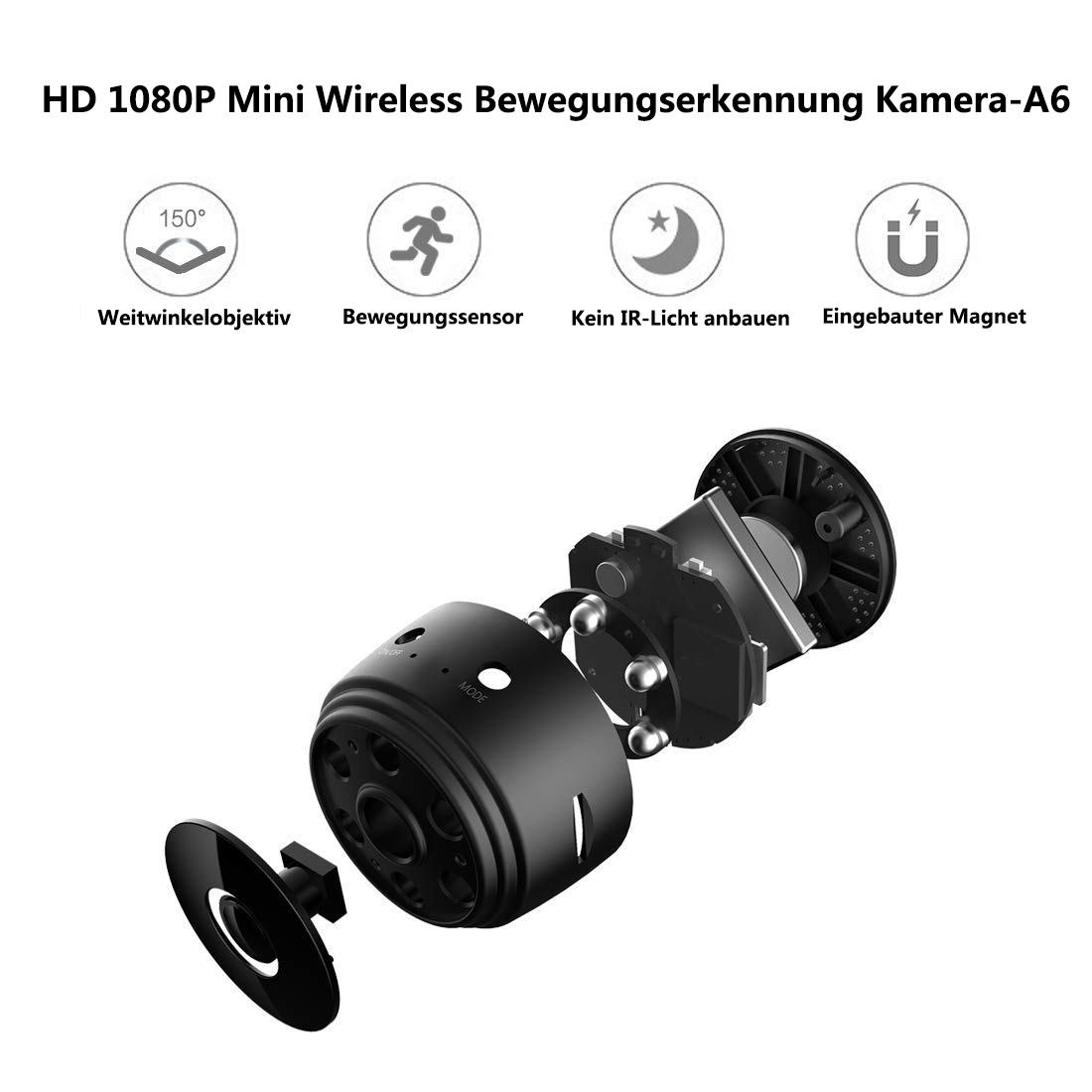 Mini Kamera 1080P Bluetooth Lautsprecher Kamera Nanny Video Cam Sicherheit Für